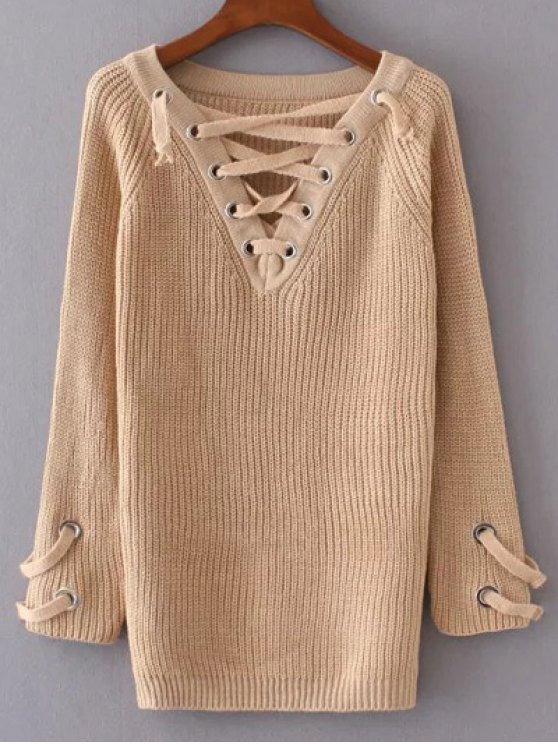 Lace Up V Neck Jumper - APRICOT ONE SIZE Mobile