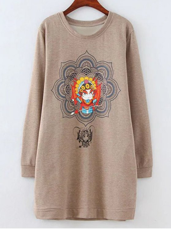 Opera Mask Print Plus Size Sweatshirt - LIGHT COFFEE 4XL Mobile