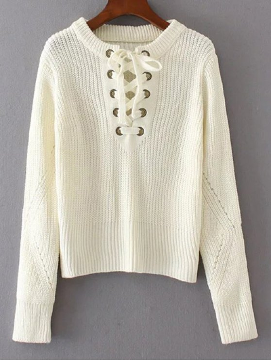 Round Neck Lace Up Jumper - WHITE ONE SIZE Mobile