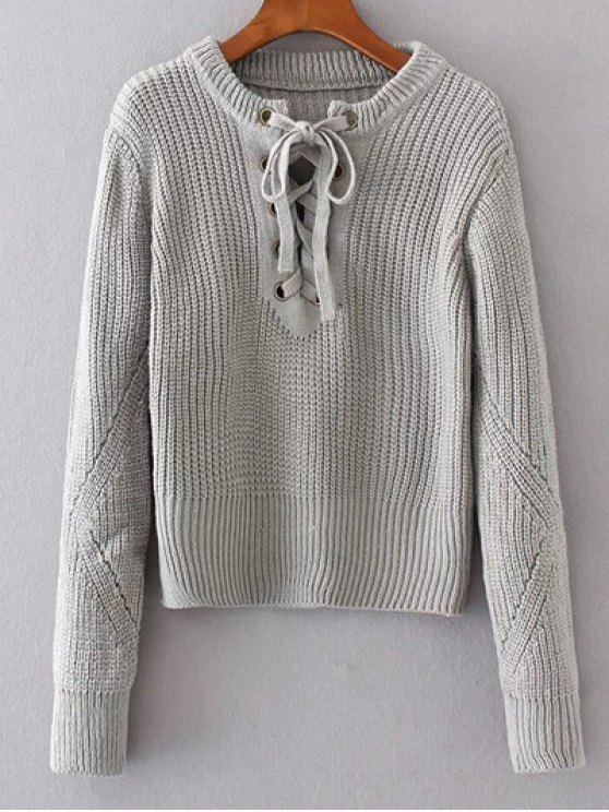 Round Neck Lace Up Jumper - GRAY ONE SIZE Mobile
