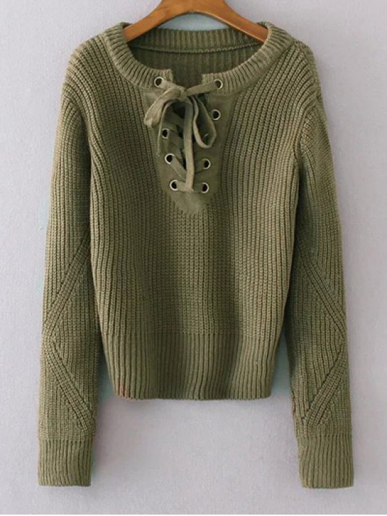 Round Neck Lace Up Jumper - GREEN ONE SIZE Mobile