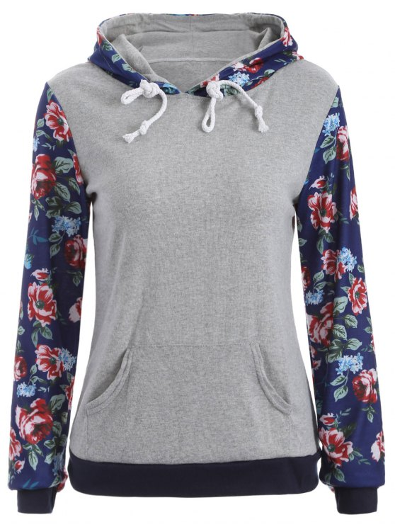 Pocket Floral Hoodie - GRAY S Mobile