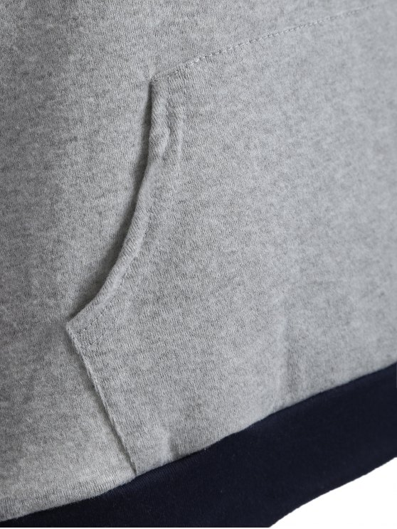 Pocket Geometric Print Hoodie - GRAY L Mobile