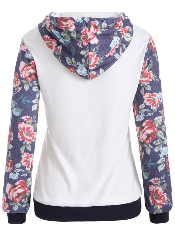 Floral Pattern Pocket Hoodie - WHITE XL Mobile