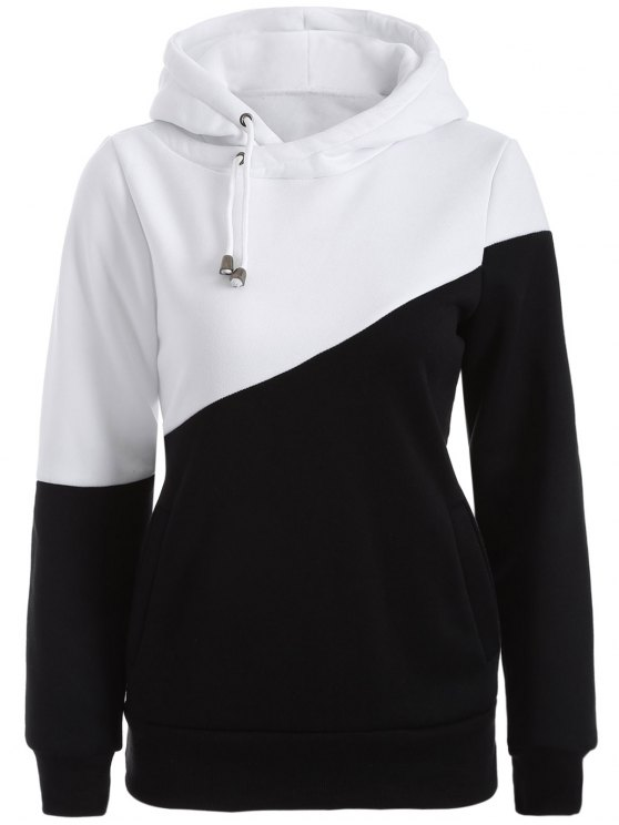 Casual Color Block Hoodie - WHITE AND BLACK XL Mobile