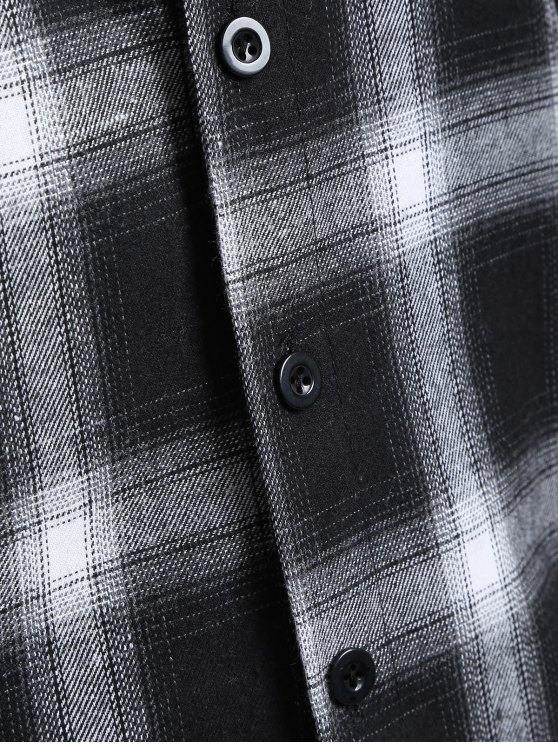 Hooded Checked Shirt - WHITE AND BLACK M Mobile