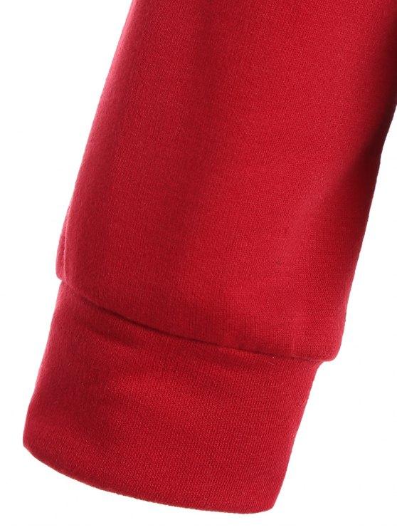 Casual Raglan Sleeve Hoodie - RED M Mobile