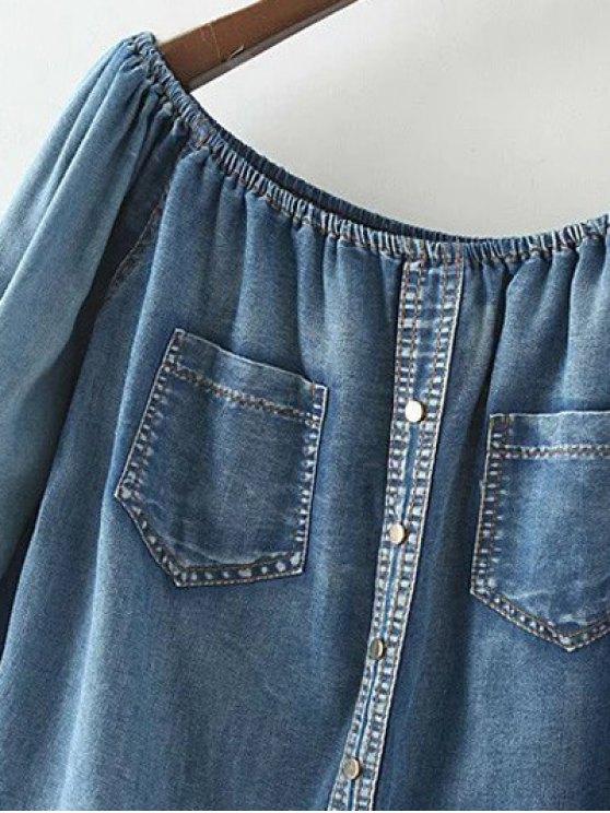 Off The Shoulder Pockets Jean Blouse - DENIM BLUE M Mobile