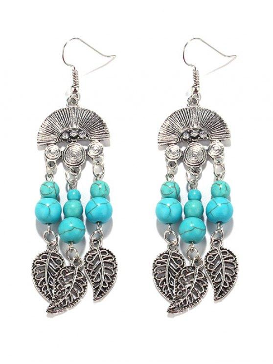 women Bohemian Turquoise Leaf Chandelier Earrings - TURQUOISE GREEN
