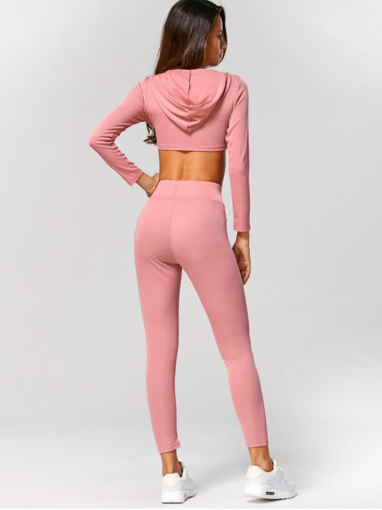 Hooded Crop Top and Ninth Pants - PINK L Mobile