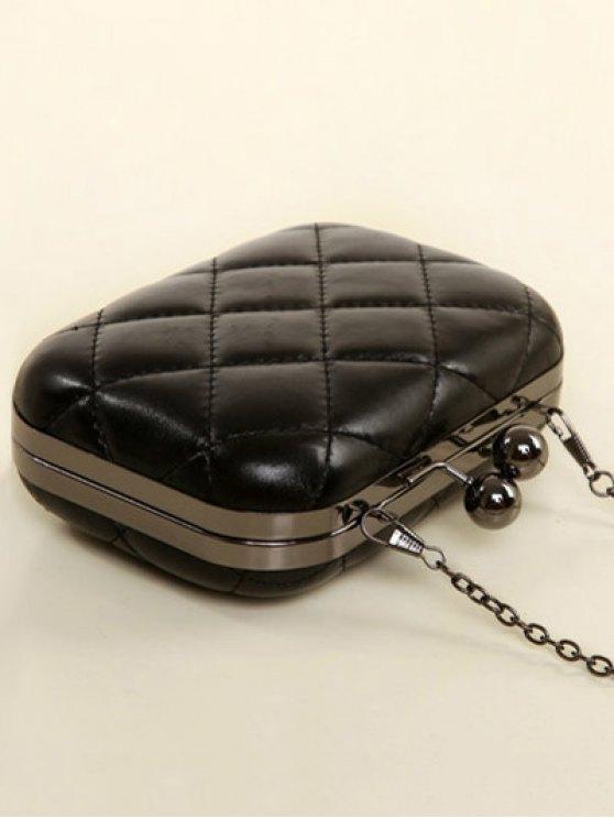 Kiss Lock Quilted Evenig Bag - BLACK  Mobile