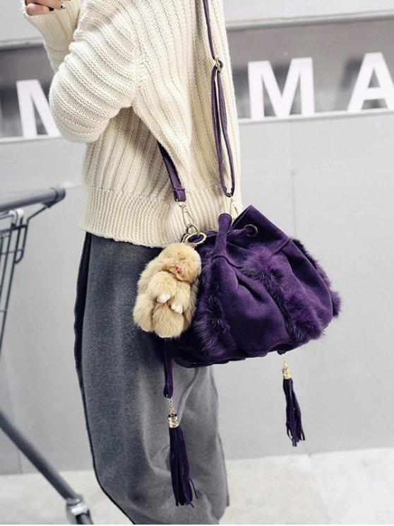 Braid Tassel Furry Bucket Bag -   Mobile