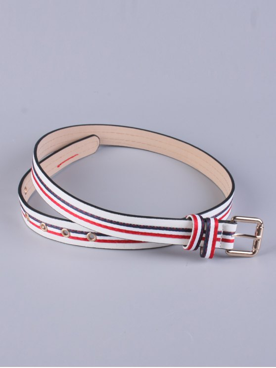 Multicolor Stripy Pin Buckle Belt - WHITE  Mobile