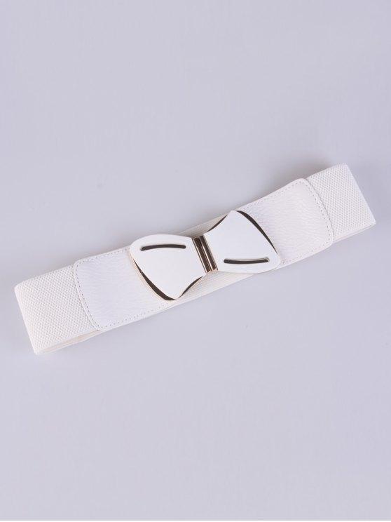 women Emboss Butterfly Buckle Stretch Belt - WHITE
