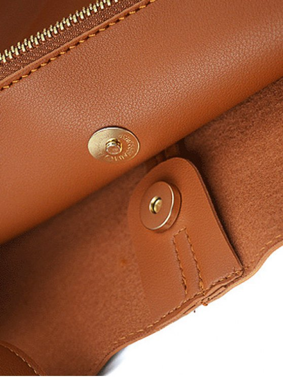 Concise Chains PU Leather Shoulder Bag -   Mobile