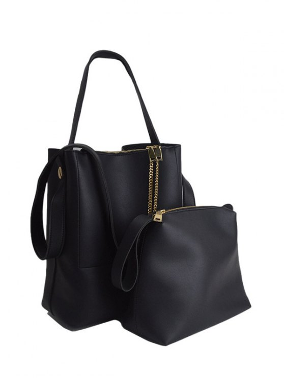 outfits Concise Chains PU Leather Shoulder Bag - BLACK