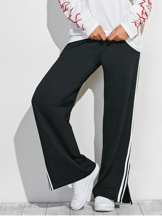 Side Slit Wide Leg Pants - BLACK ONE SIZE Mobile