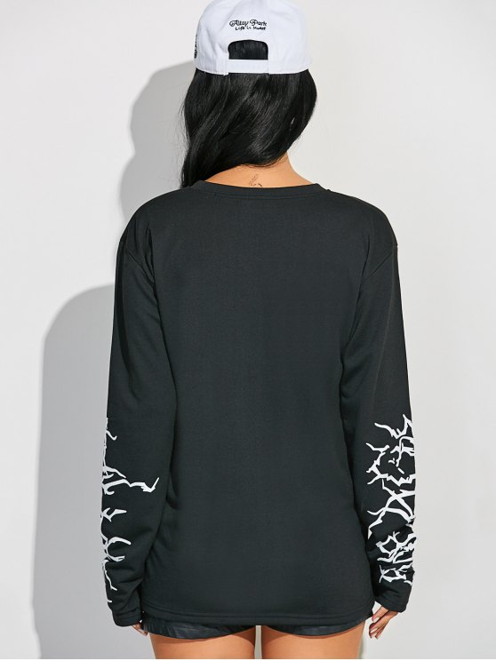 Crew Neck Graphic Sleeve Sweatshirt - BLACK L Mobile