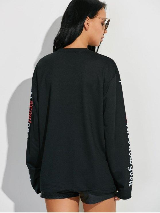 Letter Graphic Sleeve Sweatshirt - BLACK M Mobile
