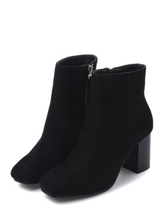 Square Toe Chunky Heel Zipper Ankle Boots - BLACK 38 Mobile