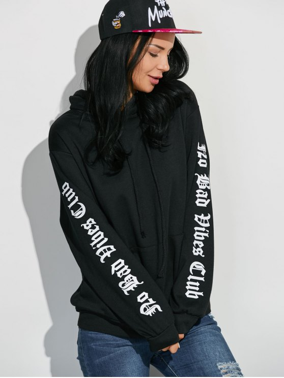 Letter Graphic Sleeve Pullover Hoodie - BLACK ONE SIZE Mobile