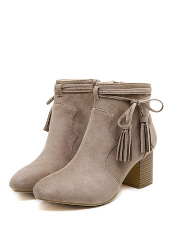 Tassels Zipper Chunky Heel Ankle Boots - CAMEL 38 Mobile