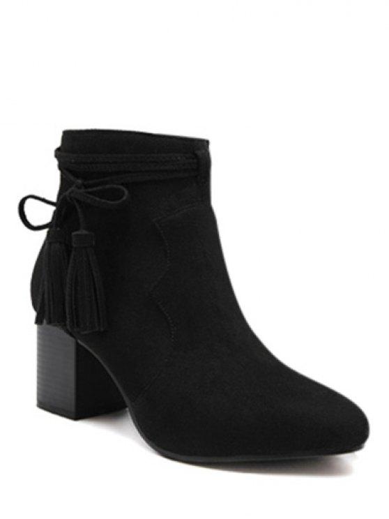 Tassels Zipper Chunky Heel Ankle Boots - BLACK 37 Mobile