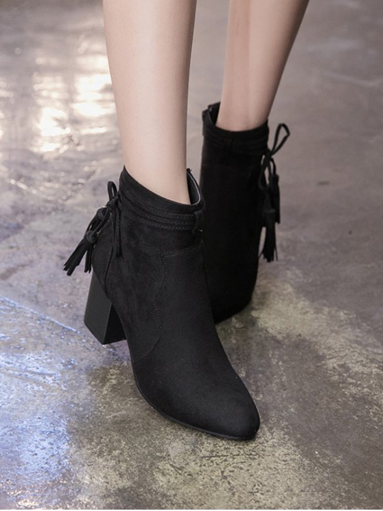 Tassels Zipper Chunky Heel Ankle Boots - BLACK 37 Mobile