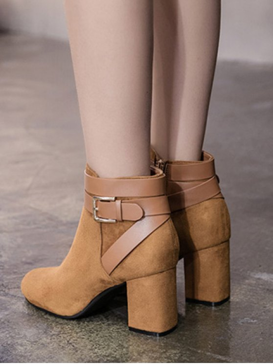 Buckle Chunky Heel Cross Straps Ankle Boots - BROWN 38 Mobile