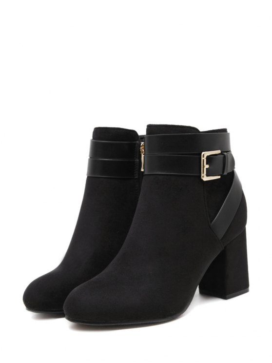 Buckle Chunky Heel Cross Straps Ankle Boots - BLACK 38 Mobile