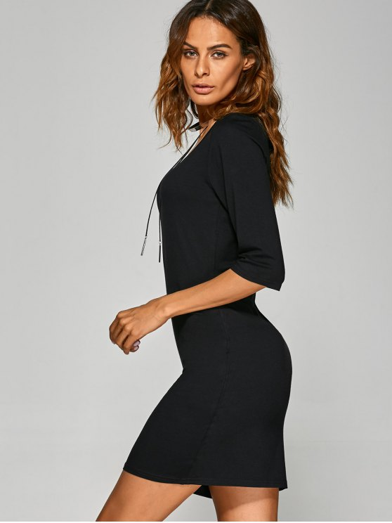Scoop Neck 3/4 Sleeve Bodycon Dress - BLACK L Mobile