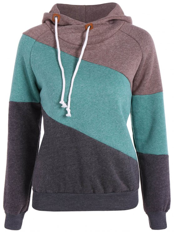 Color Block Long Sleeve Pullover Hoodie - Caqui M