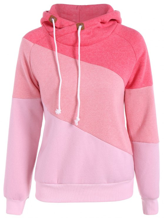 hot Color Block Long Sleeve Pullover Hoodie - RED S