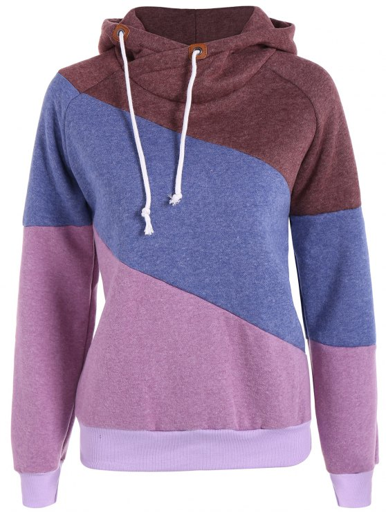affordable Color Block Long Sleeve Pullover Hoodie - PURPLE M