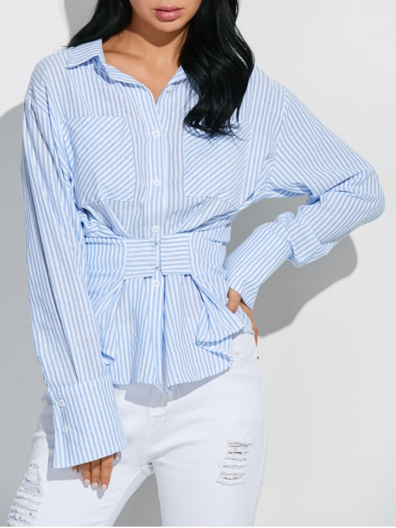 Camisa Rayada Cinta Gancho Frontal - Azul y Blanco L