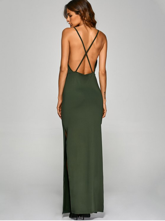 Backless High Split Surplice Maxi Dress - ARMY GREEN S Mobile