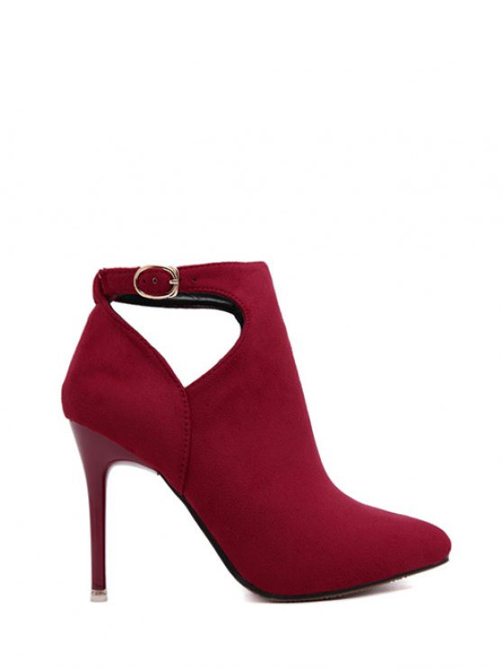 Hollow Out Flock Stiletto Heel Ankle Boots - RED 39 Mobile