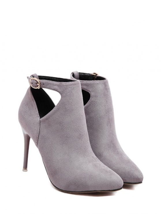 Hollow Out Flock Stiletto Heel Ankle Boots -   Mobile