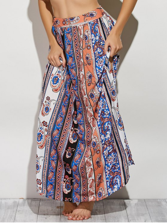 Paisley Pattern High Slit Maxi Skirt - COLORMIX S Mobile