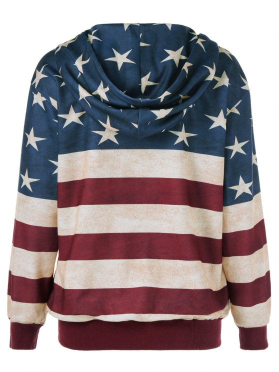 American Flag Printed Zipper Up Hoodie - BLUE AND RED XL Mobile