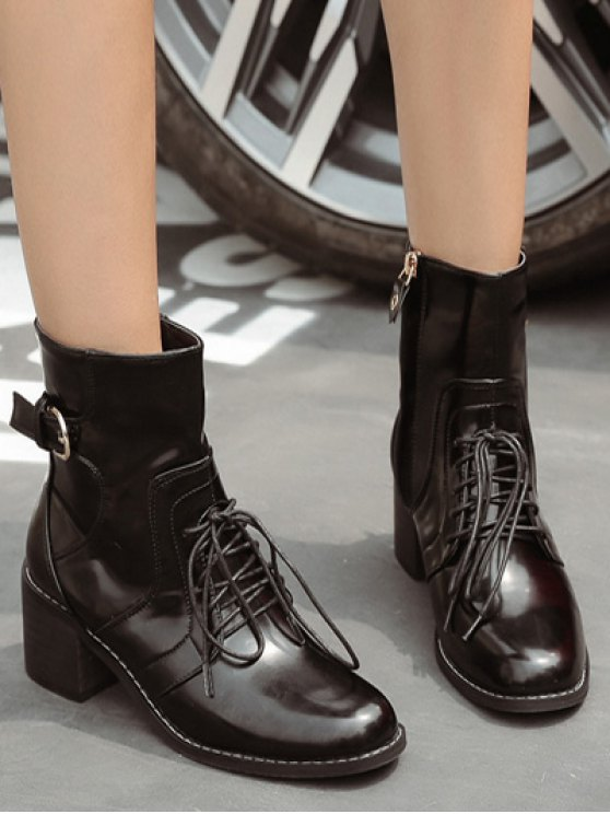 Tie Up Buckle Chunky Heel Short Boots - BLACK 38 Mobile