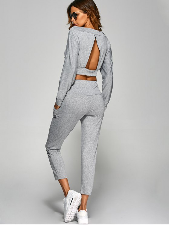 V Neck Back Cutout Crop Top With Pants - GRAY S Mobile