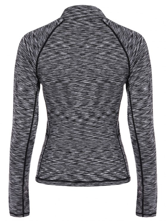 Heathered Topstitched Zipper T-Shirt - GRAY L Mobile