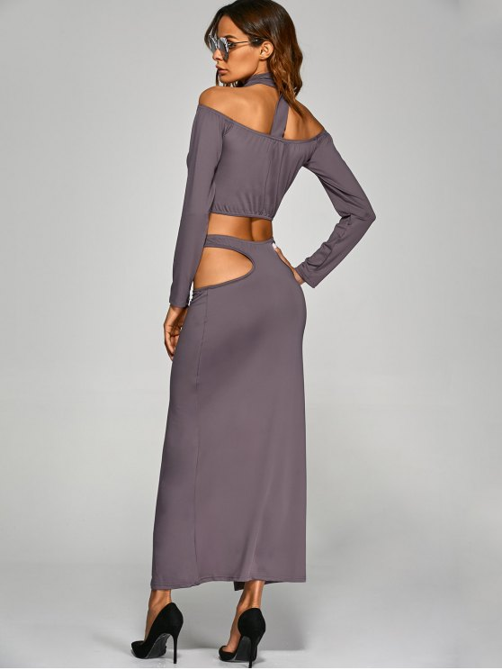 Crop Top With Front Slit Cut Out Skirt - GRAY M Mobile