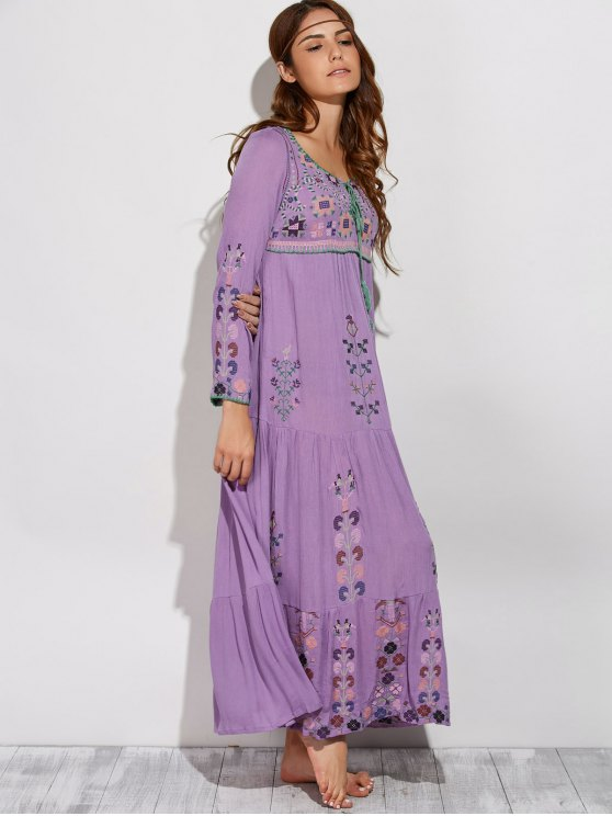 Scoop Neck Embroidered Swing Maxi Dress - PURPLE S Mobile
