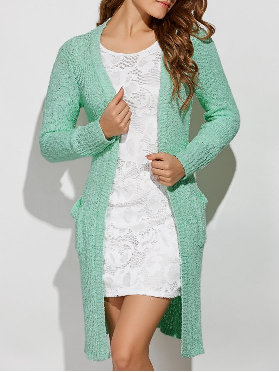 Side Furcal Collarless Cardigan - LIGHT GREEN ONE SIZE Mobile