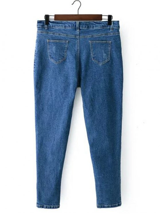 Bleach Wash Zip Fly Denim Pants - DENIM BLUE 2XL Mobile