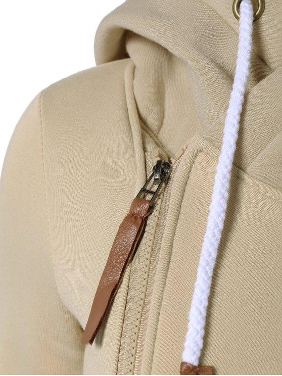 Side Zip Placket Hoodie - LIGHT KHAKI S Mobile