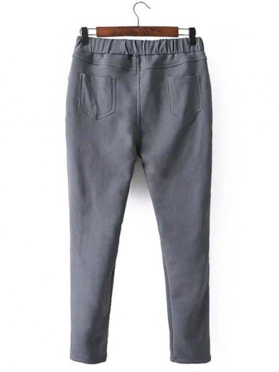 Casual Fleece Narrow Feet Pants - GRAY 4XL Mobile