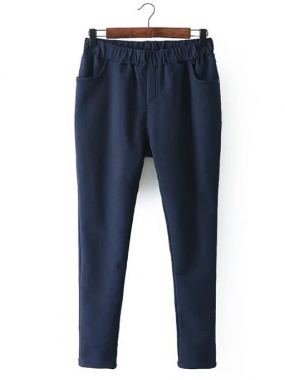 Casual Fleece Narrow Feet Pants - PURPLISH BLUE 4XL Mobile